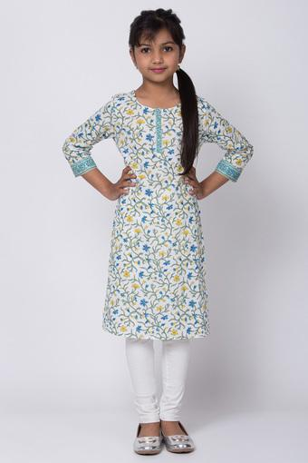 BIBA GIRLS -  White Salwar Kurta Set - Main