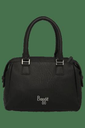 BAGGITWomens Edge Leather Zipper Closure Satchel