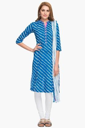 BIBA Womens Mandarin Neck Stripe Churidar Suit