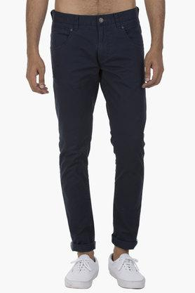 LEE Mens 5 Pocket Skinny Fit Solid Trousers  ...