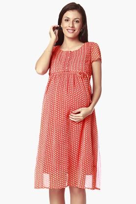 NINE MATERNITY Womens Round Neck Printed Dress - 202345128