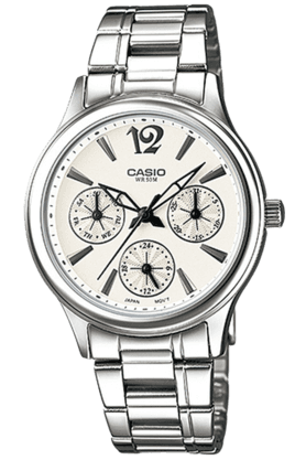 CASIO Enticer - Metallic Strap Watch With White Round Dial