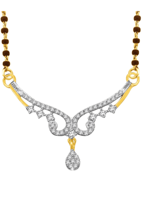 SPARKLES Gold Mangalsutra With Diamond Pendant Set N8743