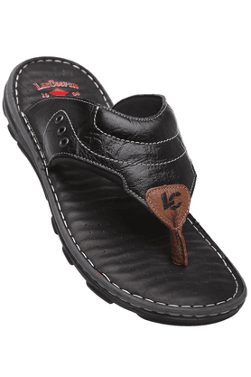 LEE COOPER Mens Black Leather Slipon Sandal