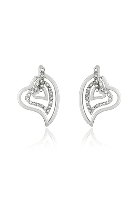 MAHI Rhodium Plated Three Hearts Earrings With White Crystals For Women ER1191768RWhi