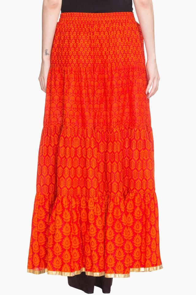 Womens Printed Flared Skirt