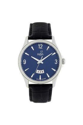 Mens Blue Dial Leather Analogue Watch - 40025SL02E