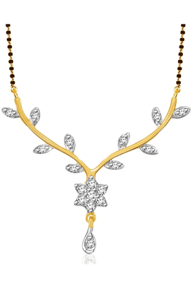 SPARKLES Gold Mangalsutra With Diamond Pendant Set N8744