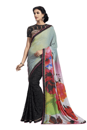 DEMARCAWomen Georgette Jacquard Saree (Buy Any Demarca Product & Get A Pair Of Matching Earrings Free)