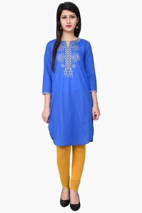 JUNIPER Women Zari Embroidered Kurta - 201932784