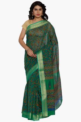 JASHNWomen Floral Print Cotton Saree - 202444552