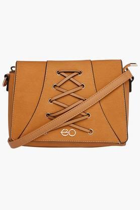 E2O Womens Leather Snap & Zipper Closure Sling Bag