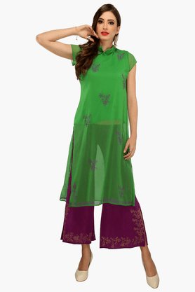 IRA SOLEIL Womens Printed Kurta And Palazzo Pants Set