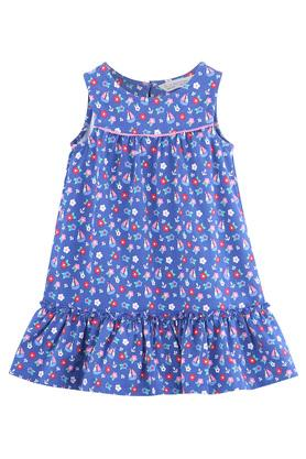 Girls Round Neck Floral Print A-Line Frill Dress