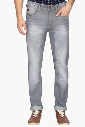 WROGNMens 5 Pocket Slim Fit Heavy Wash Jeans