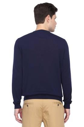 Mens Round Neck Solid Knitted Sweater