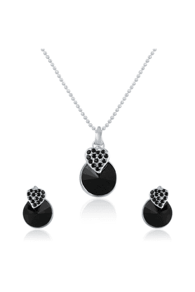 MAHI Mahi Rhodium Plated Black Swarovski Elements Pendant Set For Women NL1104089RBl
