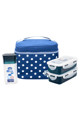LOCK & LOCK Lunch Box Set With Blue Polka Bag
