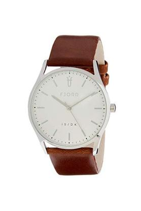 Mens White Dial Leather Analogue Watch - 414218