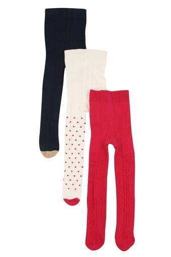 Girls Printed and Solid Knitted Tights Set of 3