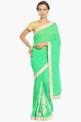Womens Georgette Solid Resham Embroidered Saree With Blouse Piece