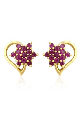 MAHIMahi Gold Plated Pear Floret Earrings With Ruby Stones For Women ER1108992G