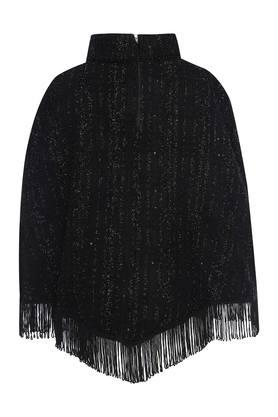 Girls High Neck Knitted Poncho