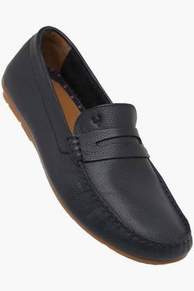 ALLEN SOLLY Mens Leather Slip On Loafers