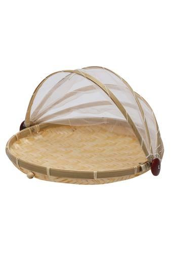 Round Bamboo Motif Natural Fruit Basket with Net Cover