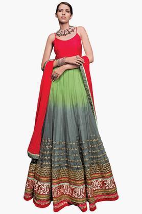 DEMARCAWomen Soft Net Banglori Silk Designer Gown
