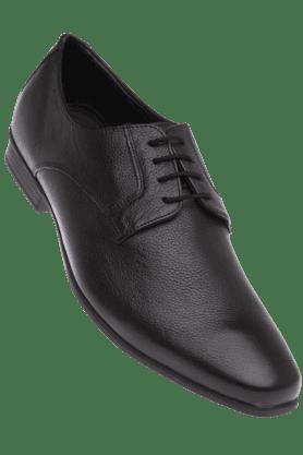RUOSHMens Black Leather Formal Lace Up Shoe