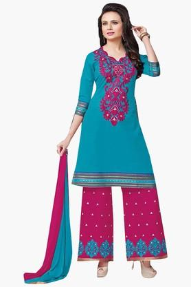 ISHIN Womens Embroidered Unstitched Dress Material - 201832726