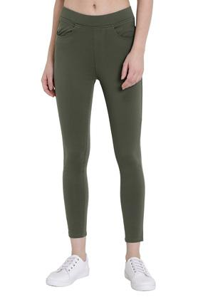 Womens High Rise Solid Treggings