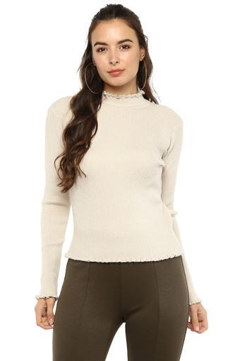 Womens High Neck Slub Knitted Sweater
