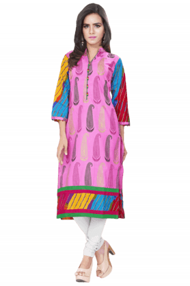 DEMARCA Womens Printed Kurta (Buy Any Demarca Product & Get A Pair Of Matching Earrings Free) - 200936947