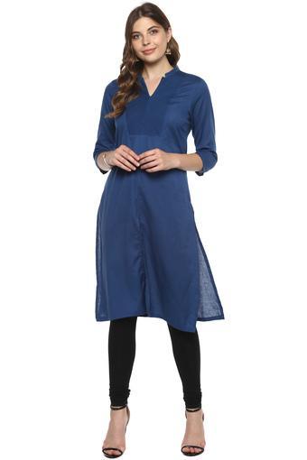 0d257cc994 Buy BIBA Womens Mandarin Collar Slub Kurta | Shoppers Stop