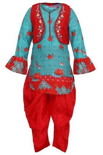 Girls Notched Neck Printed Kurta and Salwar Set with Jacket