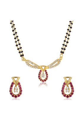 MAHI Mahi Gold Plated Bliss Mangalsutra Set With CZ & Ruby For Women NL1103516G2