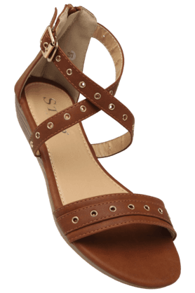 STOP Womens Ethnic Ankle Buckle Closure Flat Sandal