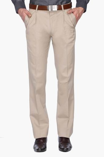 Buy Allen Solly Mens Pleated Front Slim Fit Solid Formal Trouser