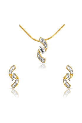 MAHIMahi Gold Plated Glamorous-S Pendant Set With Crystals For Women NL1101738G