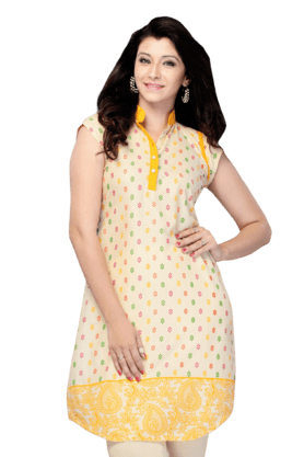 DEMARCA Womens Printed Kurta (Buy Any Demarca Product & Get A Pair Of Matching Earrings Free) - 200936874