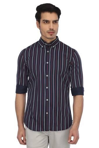 Mens Button Down Collar Stripe Casual Shirt