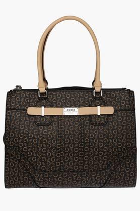 GUESSWomens Snap & Zipper Closure Tote Handbag