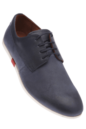 LOUIS PHILIPPE Mens Blue Leather Casual Lace Up Shoe