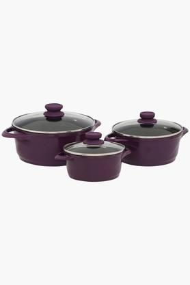 WONDERCHEF Round Cooking Pot With Lid Set Of 3