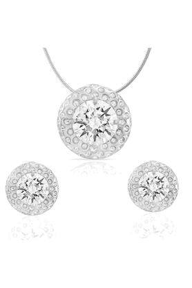MAHI Mahi Rhodium Plated Eloquent Pendant Set Of Brass Alloy Made With Swarovski Zirconia For Women NL1105002R