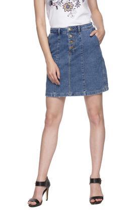 Womens 2 Pocket Rinse Wash Skirt