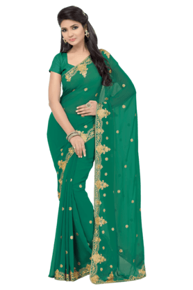 DEMARCAWomens Embroidered Saree (Buy Any Demarca Product & Get A Pair Of Matching Earrings Free)