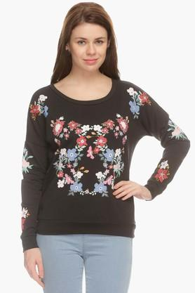 ONLY Womens Round Neck Printed Sweatshirt